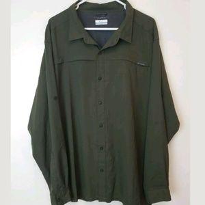 Columbia Button Down Shirt Green L/S Sz XXL